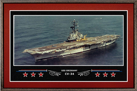 USS ORISKANY CV 34 BOX FRAMED CANVAS ART BURGUNDY