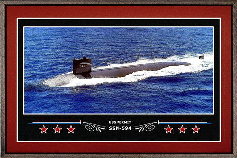 USS PERMIT SSN 594 BOX FRAMED CANVAS ART BURGUNDY