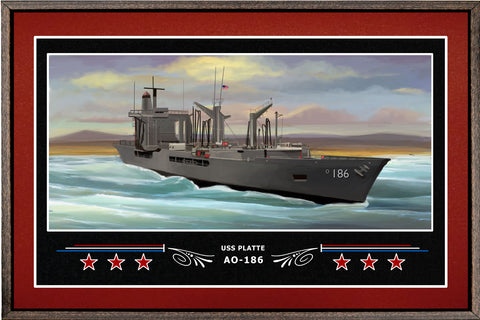 USS PLATTE AO 186 BOX FRAMED CANVAS ART BURGUNDY