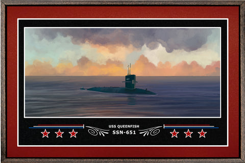 USS QUEENFISH SSN 651 BOX FRAMED CANVAS ART BURGUNDY