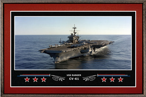 USS RANGER CV 61 BOX FRAMED CANVAS ART BURGUNDY