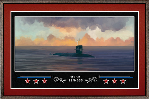 USS RAY SSN 653 BOX FRAMED CANVAS ART BURGUNDY