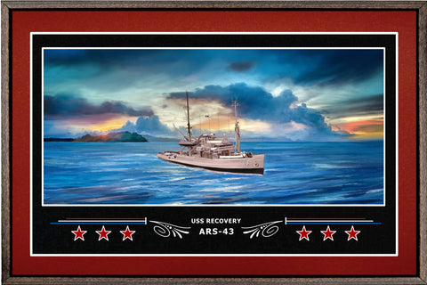 USS RECOVERY ARS 43 BOX FRAMED CANVAS ART BURGUNDY