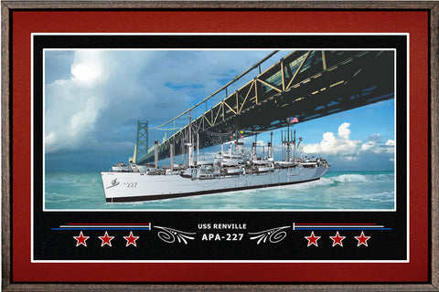 USS RENVILLE APA 227 BOX FRAMED CANVAS ART BURGUNDY