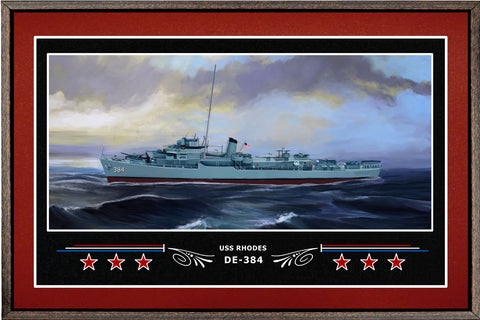USS RHODES DE 384 BOX FRAMED CANVAS ART BURGUNDY