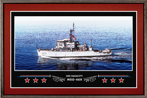 USS SAGACITY MSO 469 BOX FRAMED CANVAS ART BURGUNDY