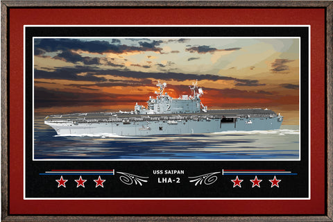 USS SAIPAN LHA 2 BOX FRAMED CANVAS ART BURGUNDY
