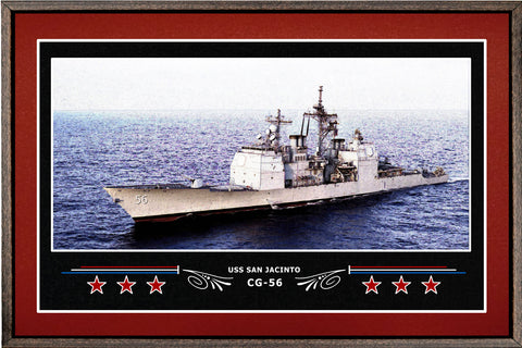 USS SAN JACINTO CG 56 BOX FRAMED CANVAS ART BURGUNDY