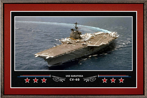USS SARATOGA CV 60 BOX FRAMED CANVAS ART BURGUNDY