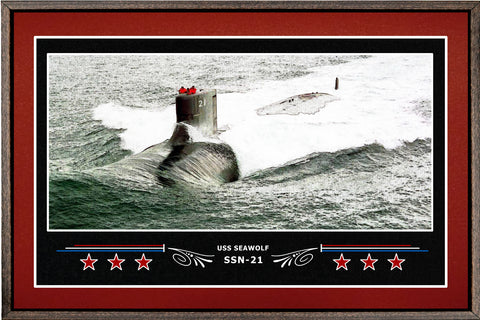 USS SEAWOLF SSN 21 BOX FRAMED CANVAS ART BURGUNDY
