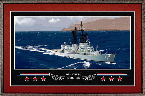 USS SOMERS DDG 34 BOX FRAMED CANVAS ART BURGUNDY