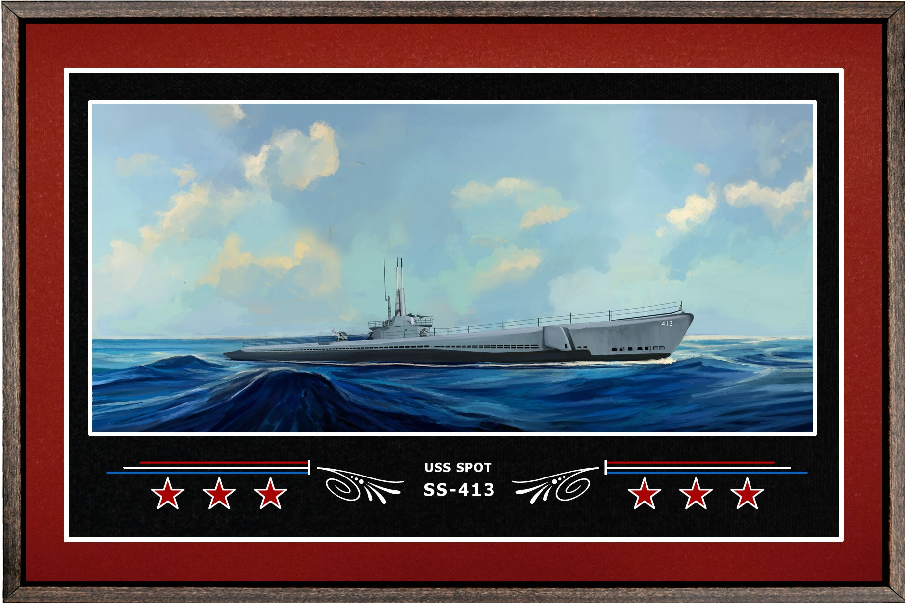 USS SPOT SS 413 BOX FRAMED CANVAS ART BURGUNDY