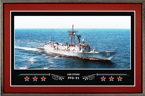 USS STARK FFG 31 BOX FRAMED CANVAS ART BURGUNDY