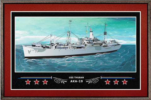 USS THUBAN AKA 19 BOX FRAMED CANVAS ART BURGUNDY