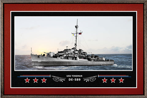 USS TINSMAN DE 589 BOX FRAMED CANVAS ART BURGUNDY