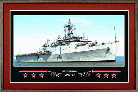 USS TRENTON LPD 14 BOX FRAMED CANVAS ART BURGUNDY