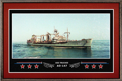 USS TRUCKEE AO 147 BOX FRAMED CANVAS ART BURGUNDY