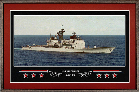 USS VINCENNES CG 49 BOX FRAMED CANVAS ART BURGUNDY
