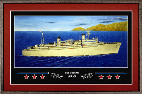 USS VULCAN AR 5 BOX FRAMED CANVAS ART BURGUNDY