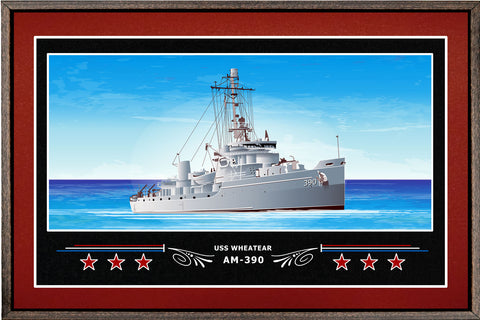 USS WHEATEAR AM 390 BOX FRAMED CANVAS ART BURGUNDY