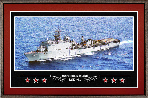 USS WHIDBEY ISLAND LSD 41 BOX FRAMED CANVAS ART BURGUNDY