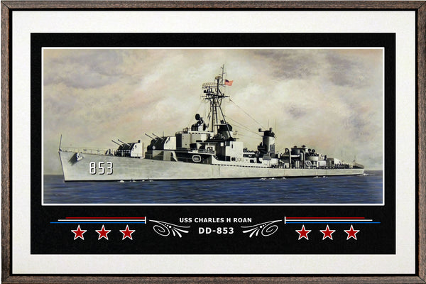USS CHARLES H ROAN DD 853 BOX FRAMED CANVAS ART WHITE