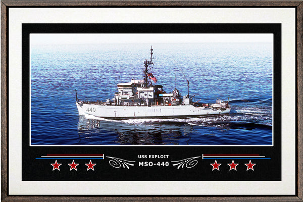 USS EXPLOIT MSO 440 BOX FRAMED CANVAS ART WHITE