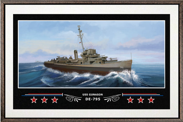 USS GUNASON DE 795 BOX FRAMED CANVAS ART WHITE