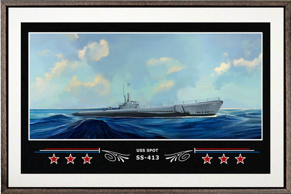 USS SPOT SS 413 BOX FRAMED CANVAS ART WHITE