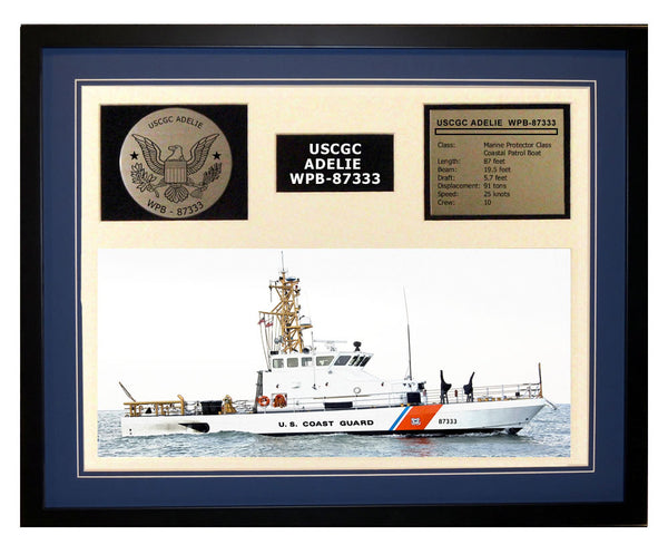 USCGC Adelie WPB-87333 Framed Coast Guard Ship Display Blue