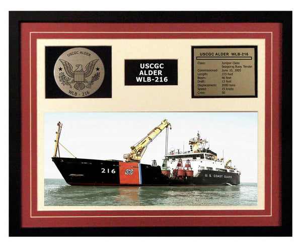 USCGC Alder WLB-216 Framed Coast Guard Ship Display Burgundy
