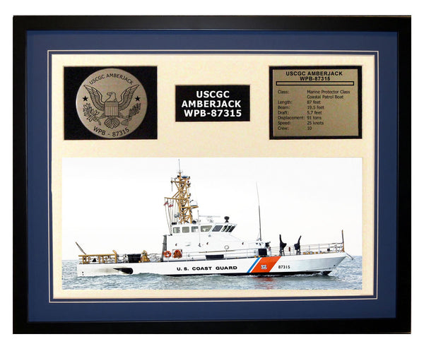 USCGC Amberjack WPB-87315 Framed Coast Guard Ship Display Blue