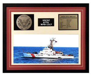 USCGC Attu WPB-1317 Framed Coast Guard Ship Display Burgundy