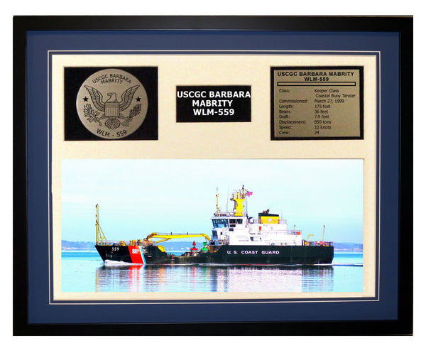USCGC Barbara Mabrity WLM-559 Framed Coast Guard Ship Display Blue