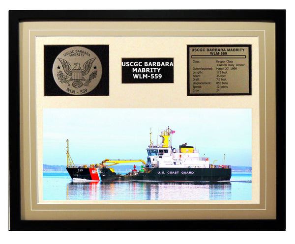 USCGC Barbara Mabrity WLM-559 Framed Coast Guard Ship Display Brown
