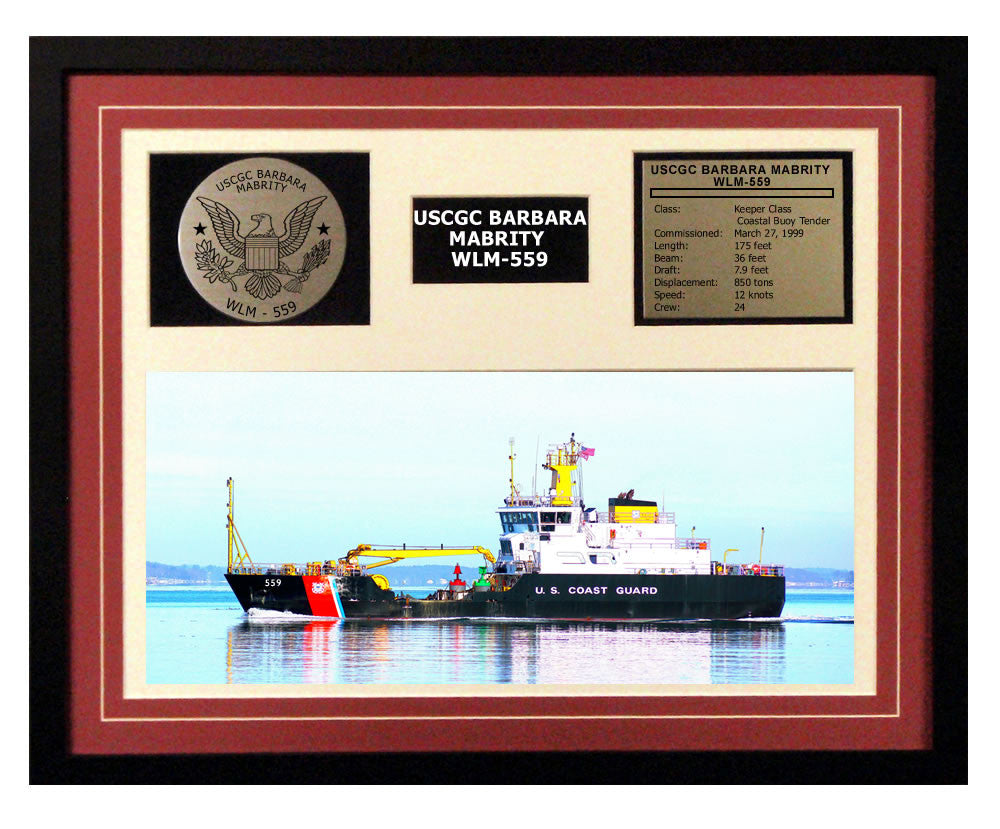 USCGC Barbara Mabrity WLM-559 Framed Coast Guard Ship Display Burgundy