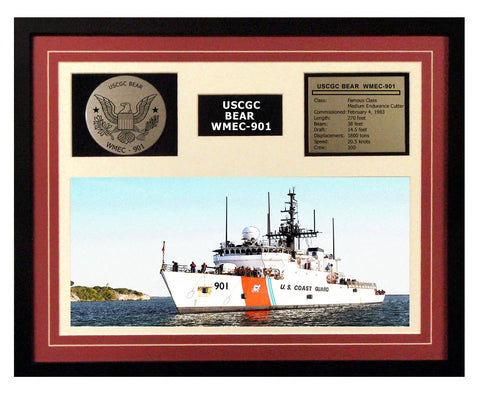 USCGC Bear WMEC-901 Framed Coast Guard Ship Display Burgundy