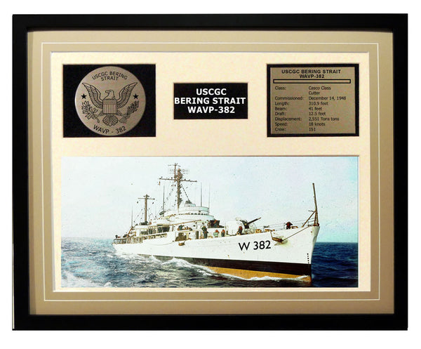USCGC Bering Strait WAVP-382 Framed Coast Guard Ship Display Brown