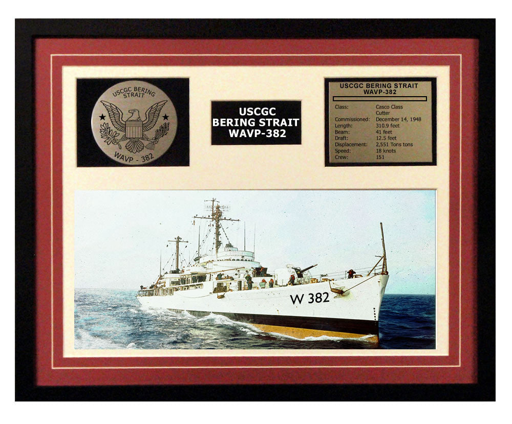 USCGC Bering Strait WAVP-382 Framed Coast Guard Ship Display Burgundy