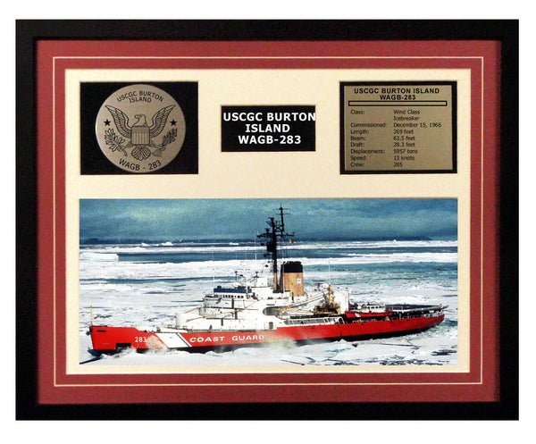USCGC Burton Island WAGB-283 Framed Coast Guard Ship Display Burgundy