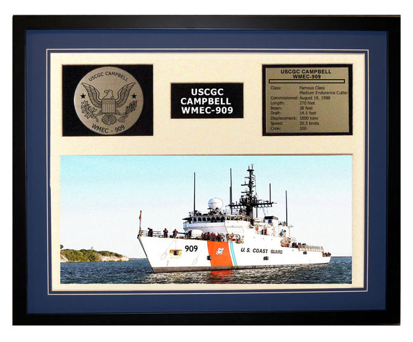 USCGC Campbell WMEC-909 Framed Coast Guard Ship Display Blue