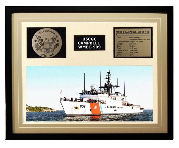 USCGC Campbell WMEC-909 Framed Coast Guard Ship Display Brown