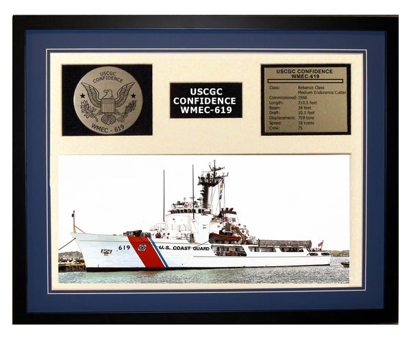 USCGC Confidence WMEC-619 Framed Coast Guard Ship Display Blue