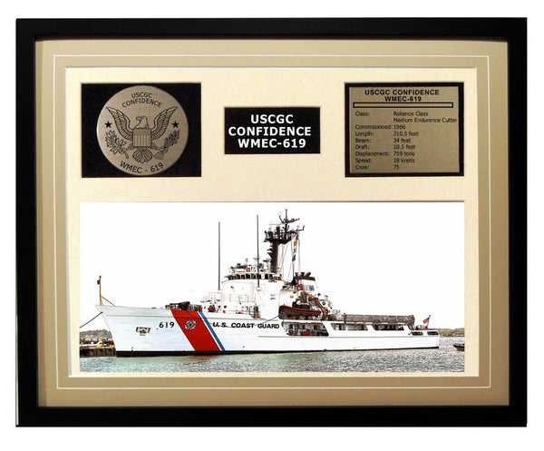 USCGC Confidence WMEC-619 Framed Coast Guard Ship Display Brown