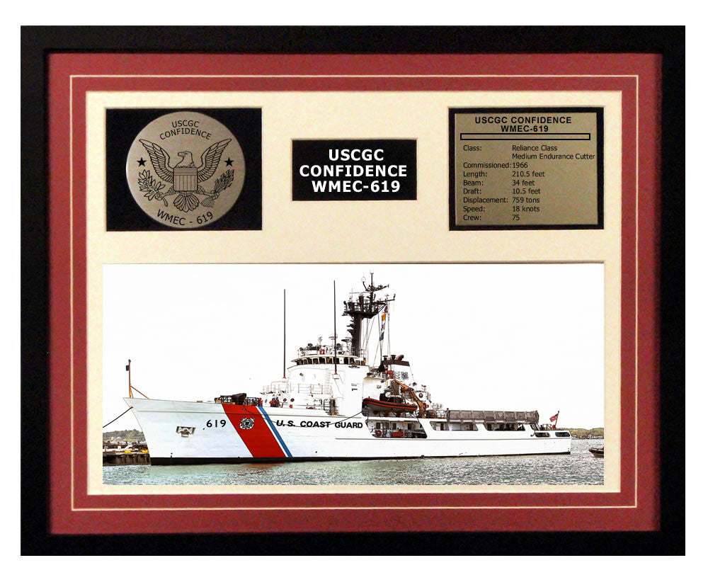 USCGC Confidence WMEC-619 Framed Coast Guard Ship Display Burgundy