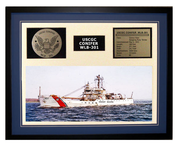 USCGC Conifer WLB-301 Framed Coast Guard Ship Display Blue