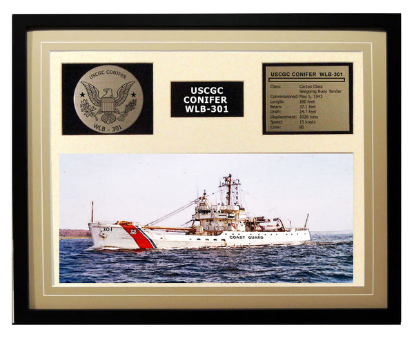 USCGC Conifer WLB-301 Framed Coast Guard Ship Display Brown