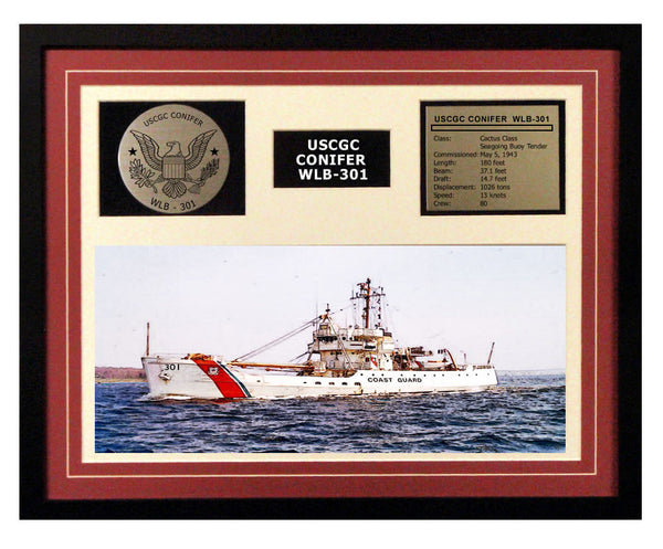 USCGC Conifer WLB-301 Framed Coast Guard Ship Display Burgundy