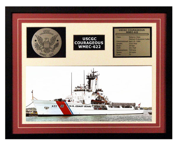 USCGC Courageous WMEC-622 Framed Coast Guard Ship Display Burgundy