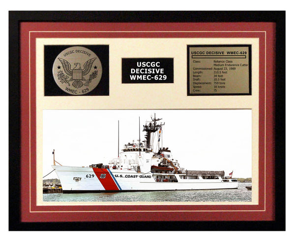 USCGC Decisive WMEC-629 Framed Coast Guard Ship Display Burgundy